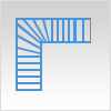 L shape winding stair
